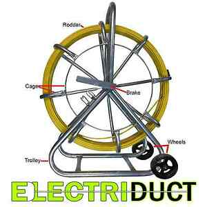 750ft X 1 4 Diameter Cable Rodder Duct Coated Fiberglass W Cage And Wheel Stand