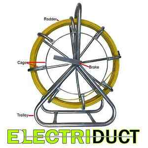 300ft X 1 4 Diameter Cable Rodder Duct Coated Fiberglass W Cage And Stand