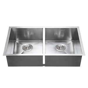 Kitchen Sink Handmade Basin Stainless Steel 30 x18 Top Mount Double Bowl