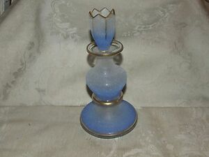 Antique Victorian Coraline Blown Glass Decanter Lavender Blue Ombre W Stopper