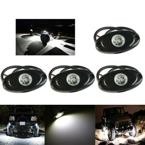4pcs 9w White Cree Led Rock Light Jeep Off Road Truck Under Body Trail Rig Light