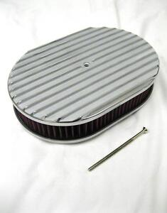 12 Nostalgic Oval Full Finned Polished Aluminum Air Cleaner W Washable Filter
