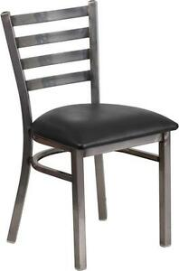 Hercules Series Clear Coated Ladder Back Metal Restaurant Chair black Vinyl Seat