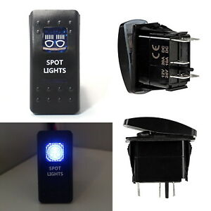 Spot Lights 5 pin Spst On off Blue Led Indicator Rocker Switch Fit Fog Drl Lamps