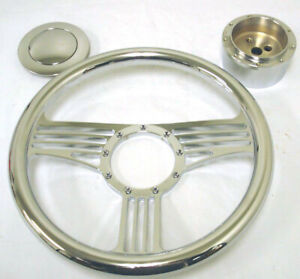 New 14 Chrome Banjo Steering Wheel Kit Street Rod W Adapter And Horn Button