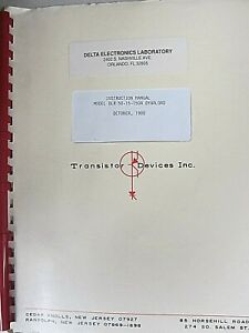 Transistor Devices Instruction Manual For Model Dlr 50 15 150a Dynaload