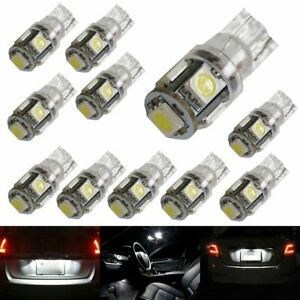 10 Pieces 5 Smd 168 194 2825 Led Bulbs For Car Interior Parking License Lights