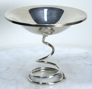 Vintage Fisher Sterling Silver Weighted Compote Modern Spiral Base Bowl Rare