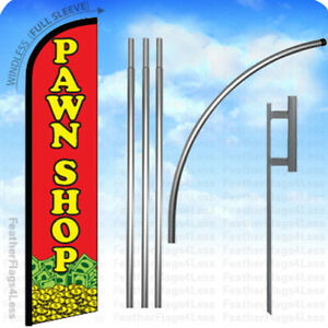 Pawn Shop Windless Swooper Flag 15 Kit Feather Banner Sign Rf
