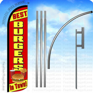 Best Burgers In Town Windless Swooper Flag 15 Kit Feather Banner Sign Rz