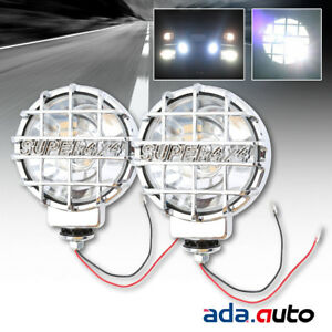 2 X 6 Built In Hid 4x4 Round Off Road Lamps Chrome Clear Fog Lights W Cover New
