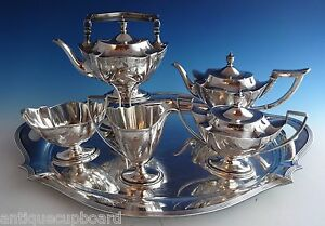 Plymouth Engraved By Gorham Sterling Silver 5pc Tea Set W Sp Tray 1024