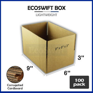 100 9x6x3 Cardboard Packing Mailing Moving Shipping Boxes Corrugated Box Cartons