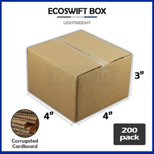 200 4x4x3 Cardboard Packing Mailing Moving Shipping Boxes Corrugated Box Cartons