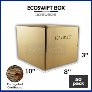 50 10x8x3 Cardboard Packing Mailing Moving Shipping Boxes Corrugated Box Cartons
