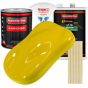 Electric Yellow Gallon Kit Single Stage Acrylic Lacquer Car Auto Body Paint Kit