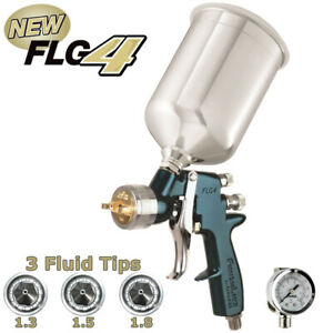 Devilbiss Finishline 4 Hvlp Spray Paint Gun W Air Regulator 1 3 1 5 1 8 Tips