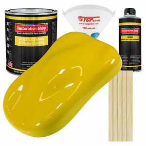 Electric Yellow Gallon Kit Single Stage Acrylic Enamel Car Auto Body Paint Kit