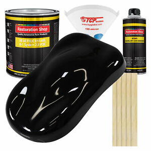 Super Gloss Jet Black Gallon Kit Single Stage Acrylic Enamel Car Auto Paint Kit