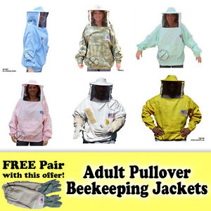 Jawadis Adult Pullover Beekeeping Bee Jacket Sheriff Round Veil Free Bee Gloves
