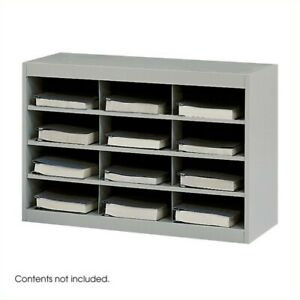 Safco E z Stor Grey Steel Mail Organizer 12 Compartments Mailroom Furniture