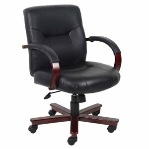 Boss Office Products High Back Executive Leather Office Chair With Knee Tilt