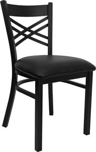 Lot Of 26 Metal X Back Restaurant Chairs With Black Vinyl Seat
