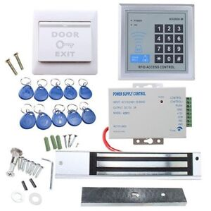 Rfid Access Control System Kit 280kg Electronic Lock power Supply exit Button