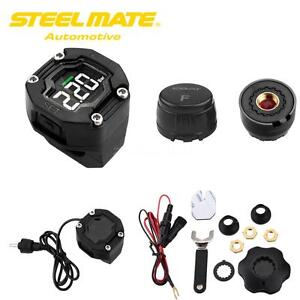 Steelmate Lcd Tpms Motorcycle Tire Pressure Monitor 2 Sensor Wireless Waterproof