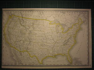 1890 United States Large Map State County Railroad Excellent Condition
