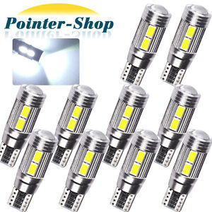 10 X Canbus Error Free White T10 10smd 5630 Led Bulbs Projector Len W5w 194 168