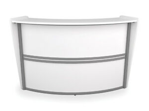 Contemporary Reception Desk In White Finish With Silver Frame