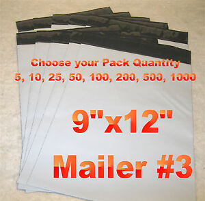 9x12 White gray Plastic Self Seal Poly Mailer Bag 9 x12 Water Resistant