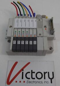 Used Smc Pneumatic Rail mounted Manifold With 5 Valve Modules wrs
