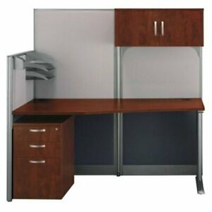 Office In An Hour 65w X 33d Cubicle Workstation With Storage In Cherry