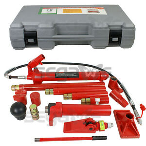 10 Ton Hydraulic Jack Air Pump Lift Porta Power Ram Repair Tool Kit Set