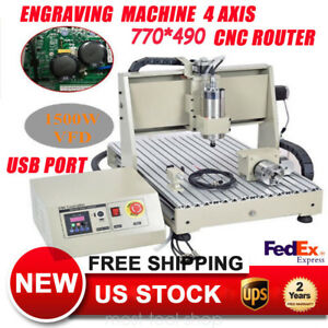 Usb 1 5kw Vfd 4axis 6040 Cnc Router Engraving Machine Metalworking 3d Carving