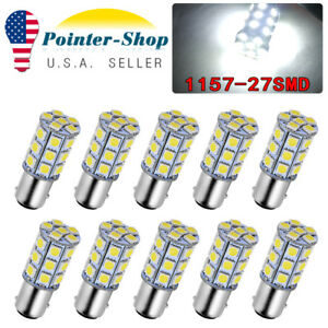 10x 1157 White 27smd 5050 Led Brake Tail Back Up Reverse Light Bulbs 12v 1142