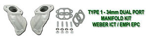 Vw Bug Bus Ghia Type 1 Weber Ict Empi Epc 34mm Dual Port Intake Manifold Kit