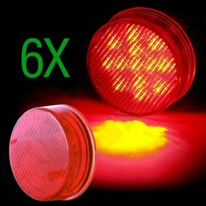 Red 2 5 Round 13 Led Truck Trailer Light Side Marker Clearance Light 6pcs
