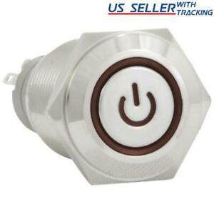 16mm 12v Latching Push Button Power Switch Stainless Steel Red Led Waterproof