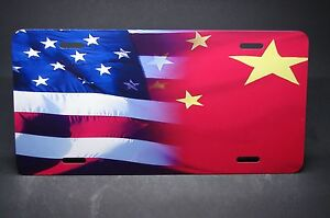 Chinese American Flag Metal License Plate For Cars