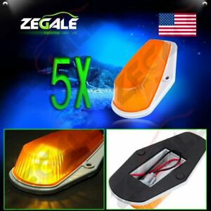 5x Roof Cab Marker Clearance Light Amber Cover Base Housing For 80 97 Ford