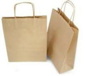 100 10x5x13 Kraft Brown Paper Handle Shopping Gift Merchandise Carry Retail Bags