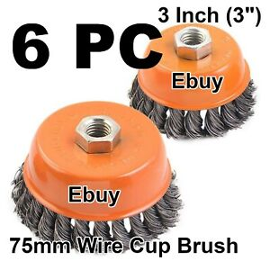 6pc New 3 Wire Cup Brush Twist Style Wheels Grinding Metalworking Cleaner 5 8