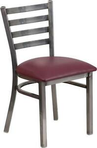 Lot Of 20 Clear Coated Ladder Back Metal Restaurant Chair Burgundy Vinyl