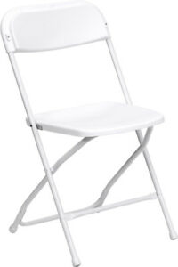 Lot Of 300 White Steel Frame Folding Chairs With 650 Lb Capacity