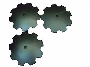 16 Notched Disc Harrow Blades Scalloped Heavy Duty 1 Or 1 1 8 Sq lot Of 3