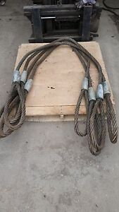 Lot Of 4 Wire Rope Sling 10 7 X 1 1 4