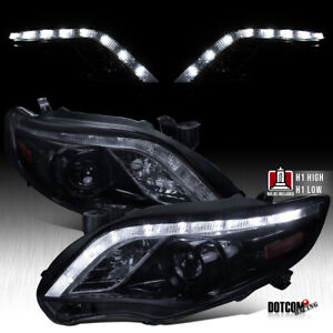 For Toyota 2011 2013 Corolla Black Smoke Led Drl Projector Headlights Left right